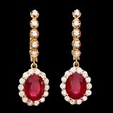 14k Gold 6.50ct Ruby 1.25ct Diamond Earrings