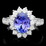 14k Gold 2.00ct Tanzanite 1.25ct Diamond Ring