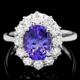 14k Gold 3.25ct Tanzanite 1.20ct Diamond Ring