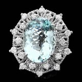 14k Gold 11.00ct Aquamarine 1.60ct Diamond Ring