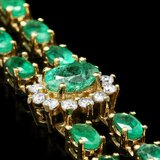 14k Gold 12.00ct Emerald 1.50ct Diamond Bracelet