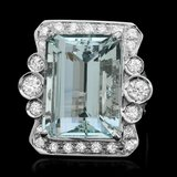 14k Gold 24.00ct Aquamarine 1.70ct Diamond Ring