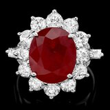 14k White Gold 7.00ct Ruby 2.3ct Diamond Ring