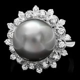 14k Gold 12 X 12mm Pearl 0.60ct Diamond Ring