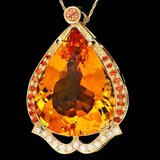 14k Gold 42ct Citrine 0.30ct Diamond Pendant