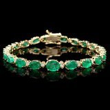 14k Gold 11ct Emerald 0.65ct Diamond Bracelet
