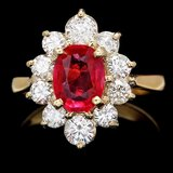 14k Yellow Gold 1.50ct Ruby 1.10ct Diamond Ring