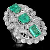 14K Gold 4.85ct Emerald 1.65ct Diamond Ring
