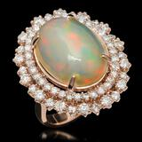 14K Gold 7.38ct Opal & 2.12ct Diamond Ring
