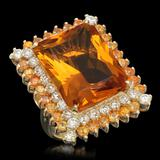 14K Gold 17.71ct Citrine 2.15ct Sapphire 1.95ct Diamond Ring