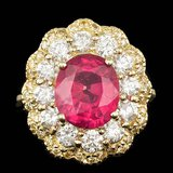 14k Yellow Gold 4.00ct Ruby 1.8ct Diamond Ring