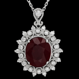 14K Gold 7.64ct Ruby 0.66ct Diamond Pendant