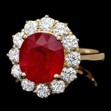 14k Yellow Gold 5.00ct Ruby 1.35ct Diamond Ring