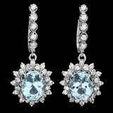 14k 5.50ct Aquamarine 1.70ct Diamond Earrings