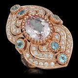 14K Gold 4.76ct Kunzite, 0.90ct Aquamarine 1.30ct Diamond Ring
