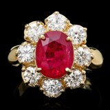 14k Yellow Gold 4.50ct Ruby 2.20ct Diamond Ring