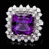 14k Gold 7.00ct Amethyst 1.00ct Diamond Ring