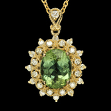 14K Gold 4.06ct Tourmaline 0.62ct Diamond Pendant