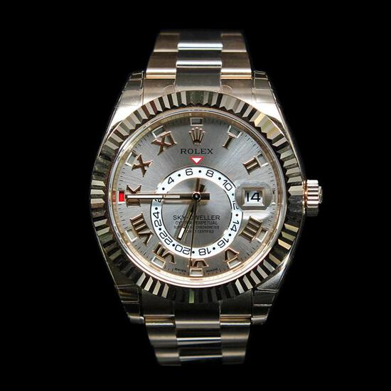 Rolex SkyDweller 42mm 18K Rose Gold Mens Wristwatch
