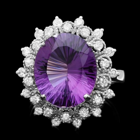 14k Gold 6.30ct Amethyst 0.80ct Diamond Ring