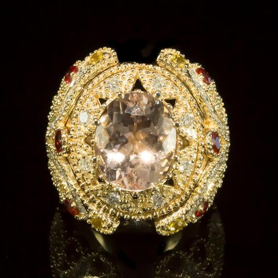 14K Gold 4.62ct Morganite, 1.40ct Orange Sapphire 1.55ct Diamond Ring
