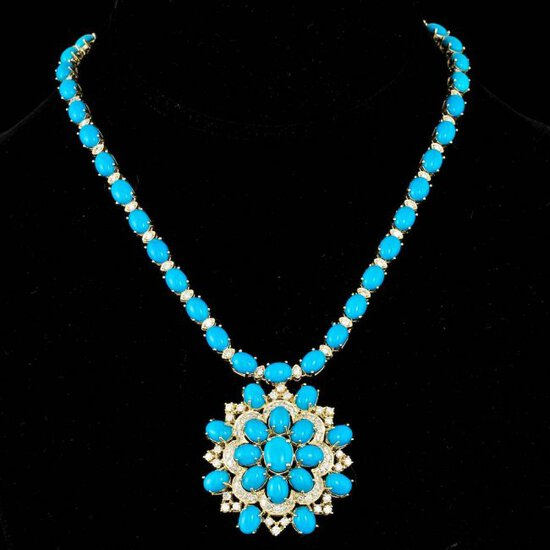 14k 64.00ct Turquoise 5.00ct Diamond Necklace