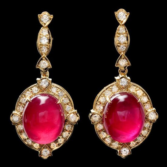 14k Gold 29.50ct Ruby 1.65ct Diamond Earrings