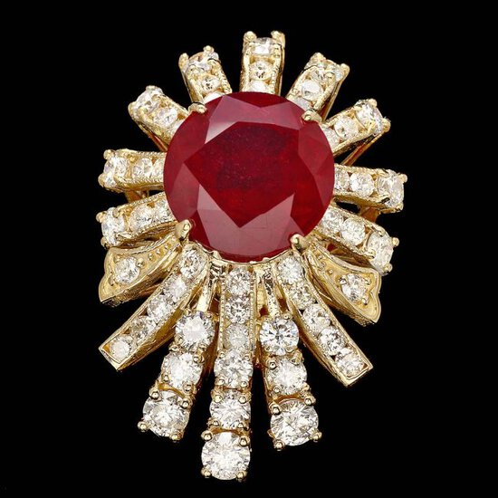 14k Yellow Gold 7.00ct Ruby 2.60ct Diamond Ring
