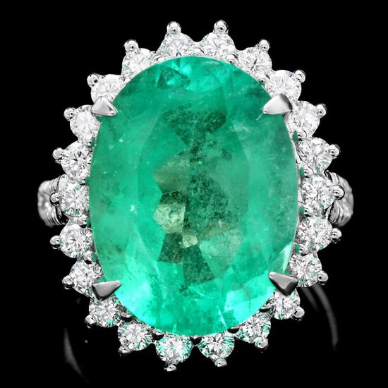 18k Gold 11.35ct Emerald 1.30ct Diamond Ring