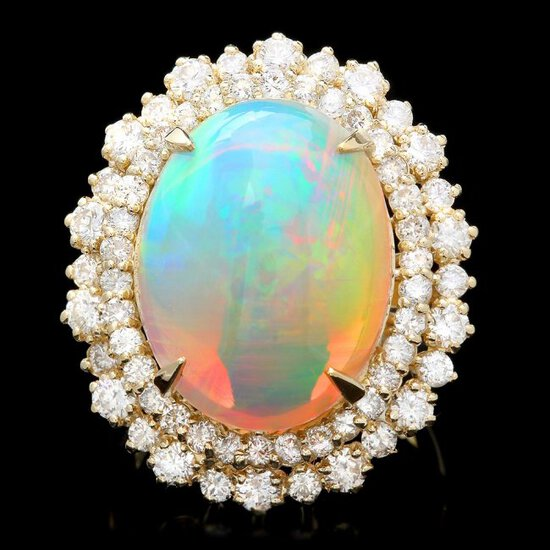 14k Yellow Gold 10.00ct Opal 2.15ct Diamond Ring