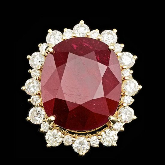 14k Yellow Gold 25.50ct Ruby 2.25ct Diamond Ring