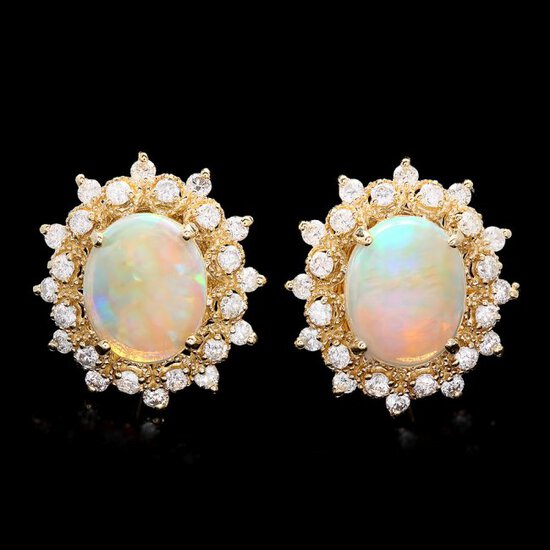 14k Gold 4.00ct Opal 1.30ct Diamond Earrings