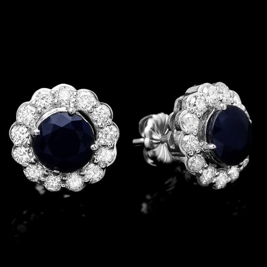 14k Gold 3.70ct Sapphire 1.5ct Diamond Earrings