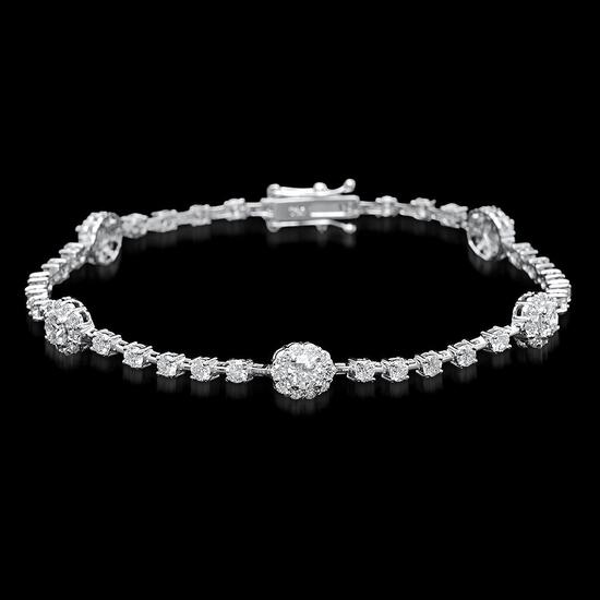 18k White Gold 3.85ct Diamond Bracelet