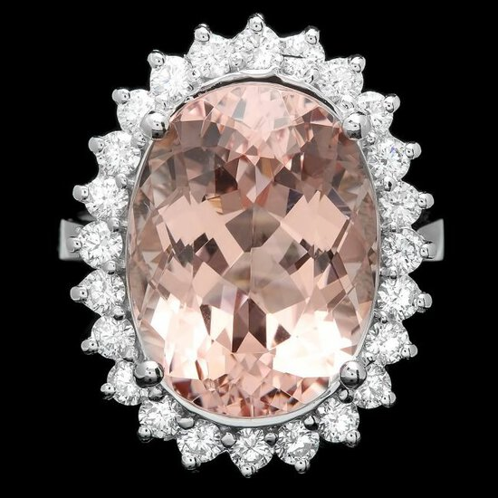 14k Gold 12.00ct Morganite 1.00ct Diamond Ring