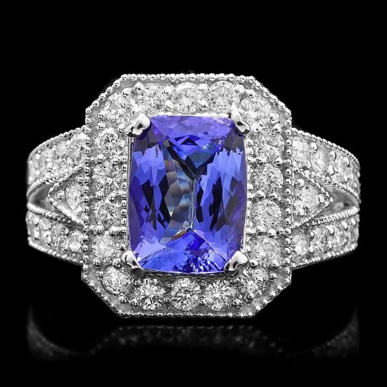 14k Gold 3.00ct Tanzanite 1.50ct Diamond Ring