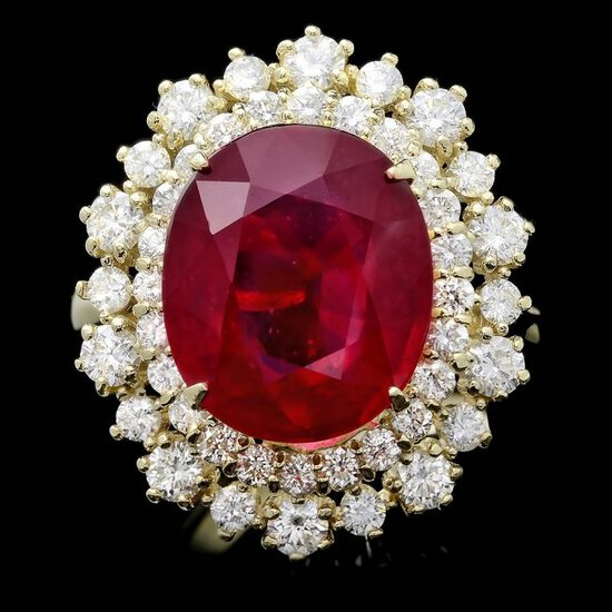 14k Yellow Gold 8.00ct Ruby 1.45ct Diamond Ring