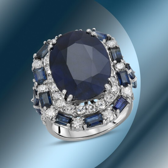 14K Gold 16.44cts Sapphire & 2.78cts Diamond Ring