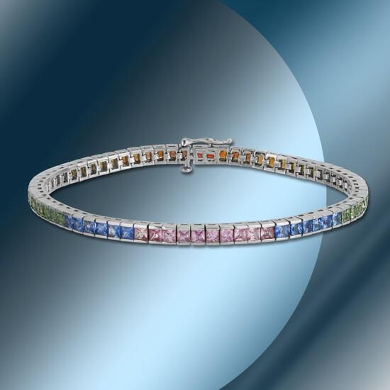 14K Gold 8.80cts Multi-color Sapphire Bracelet