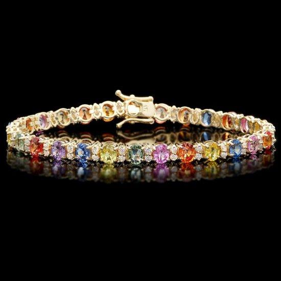 14k Gold 11ct Sapphire 1.4ct Diamond Bracelet