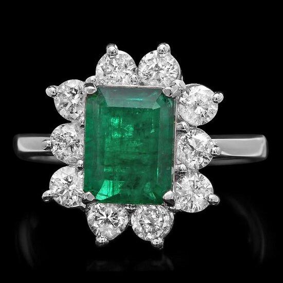 14k White Gold 2.60ct Emerald 1.20ct Diamond Ring