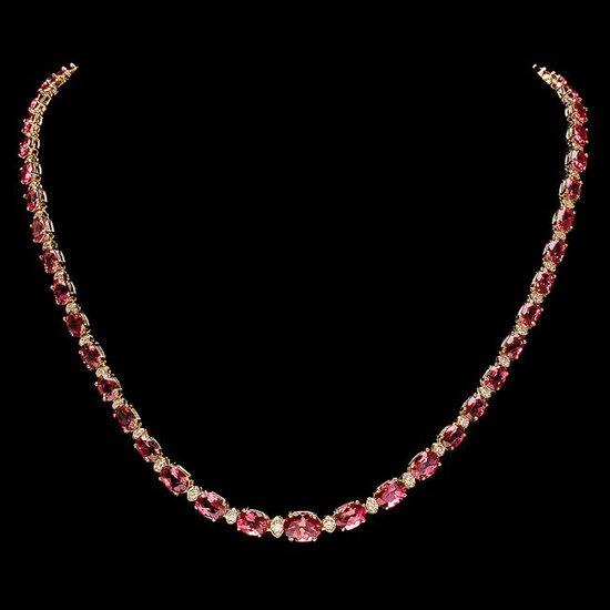 14k Gold 25ct Tourmaline 1.40ct Diamond Necklace