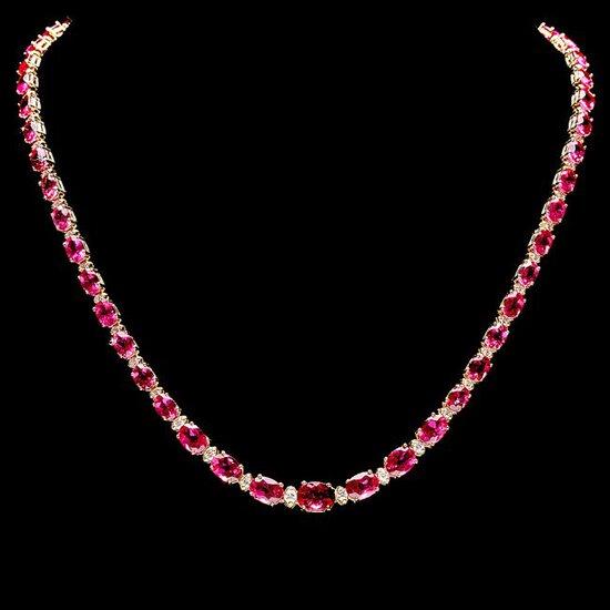 14k Gold 26ct Tourmaline 1.40ct Diamond Necklace