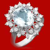 14k Gold 3.23ct Aquamarine 0.65ct Diamond Ring