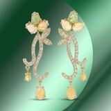 14K Gold 15.12cts Opal & 2.11cts Diamond Earrings