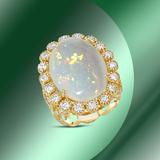14K Gold 9.88cts Opal & 1.78cts Diamond Ring