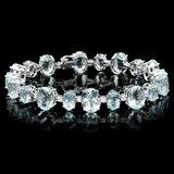 14k Gold 39ct Aquamarine 1.25ct Diamond Bracelet