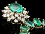 14k Gold 42.2ct Emerald 1.50ct Diamond Necklace