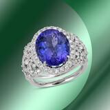 14K Gold 6.70cts Tanzanite & 1.85cts Diamond Ring