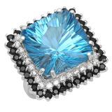 14K Gold 20.53ct Topaz 1.65ct Sapphire 0.77ct Diamond Ring